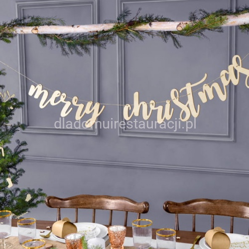 Baner Drewniany Merry Christmas 87x17cm